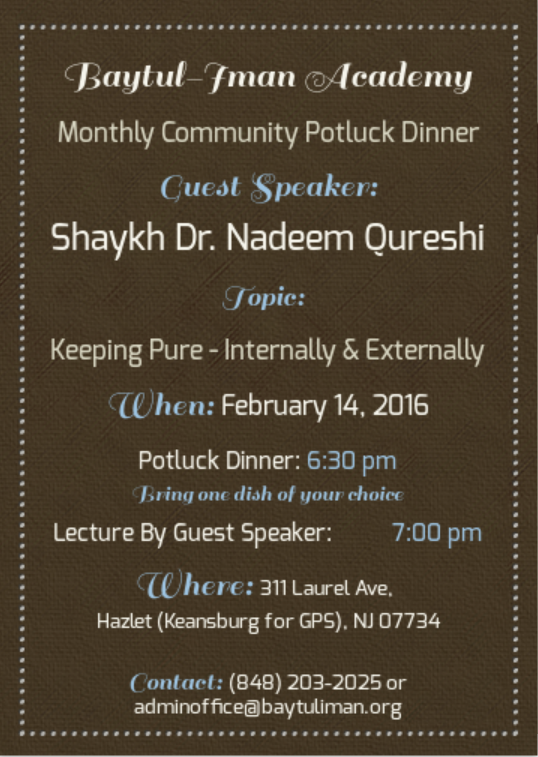 Monthly Community Potluck - Dr. Nadeem Qureshi - Keeping Pure